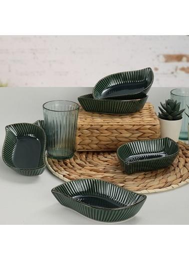 Keramika Keramika 17 cm 6 Adet Zümrüt Rölyefli Yaprak Çerezlik Renkli